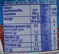 Danone fruits & cerise - Nutrition facts