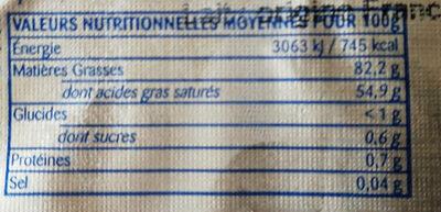 Beurre de baratte doux - Nutrition facts - fr