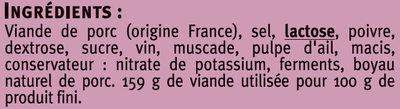 Saucisse de l'Ardèche IGP - Ingredients