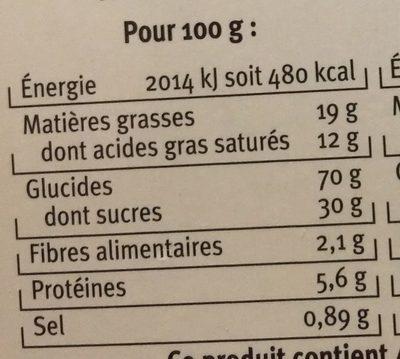 Galettes citron vert - Informations nutritionnelles - fr