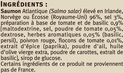 Emincés de saumon fumé tomate basilic - Ingredients