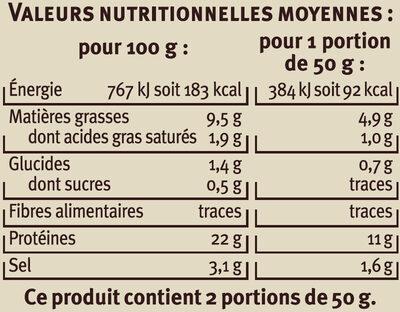 Emincés de saumon fumé tomate basilic - Voedingswaarden - fr