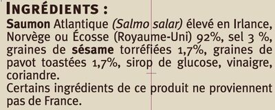 Emincés de saumon fumé sésame pavot - Ingredients - fr