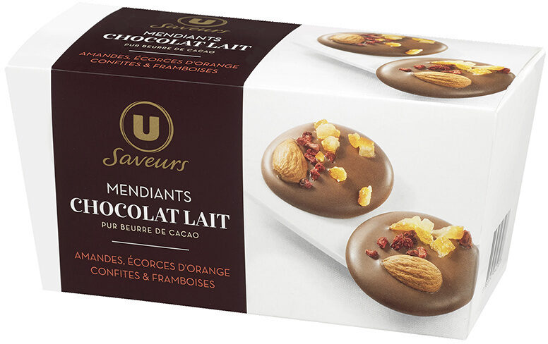 Mendiants au chocolat lait, amandes, framboise et écorce d'orange - Product