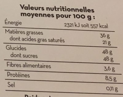 Mendiants au chocolat lait, amandes, framboise et écorce d'orange - Nutrition facts