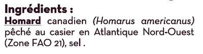 Homard Canadien (homarus americanus) cuit MSC - Ingredients