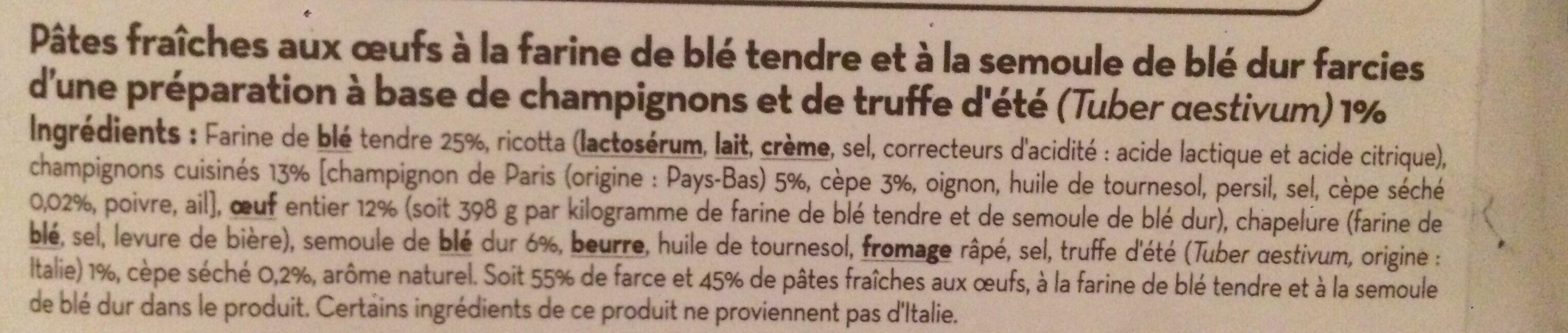 Triangoli aux champignons & à la truffe d'été - Ingredients