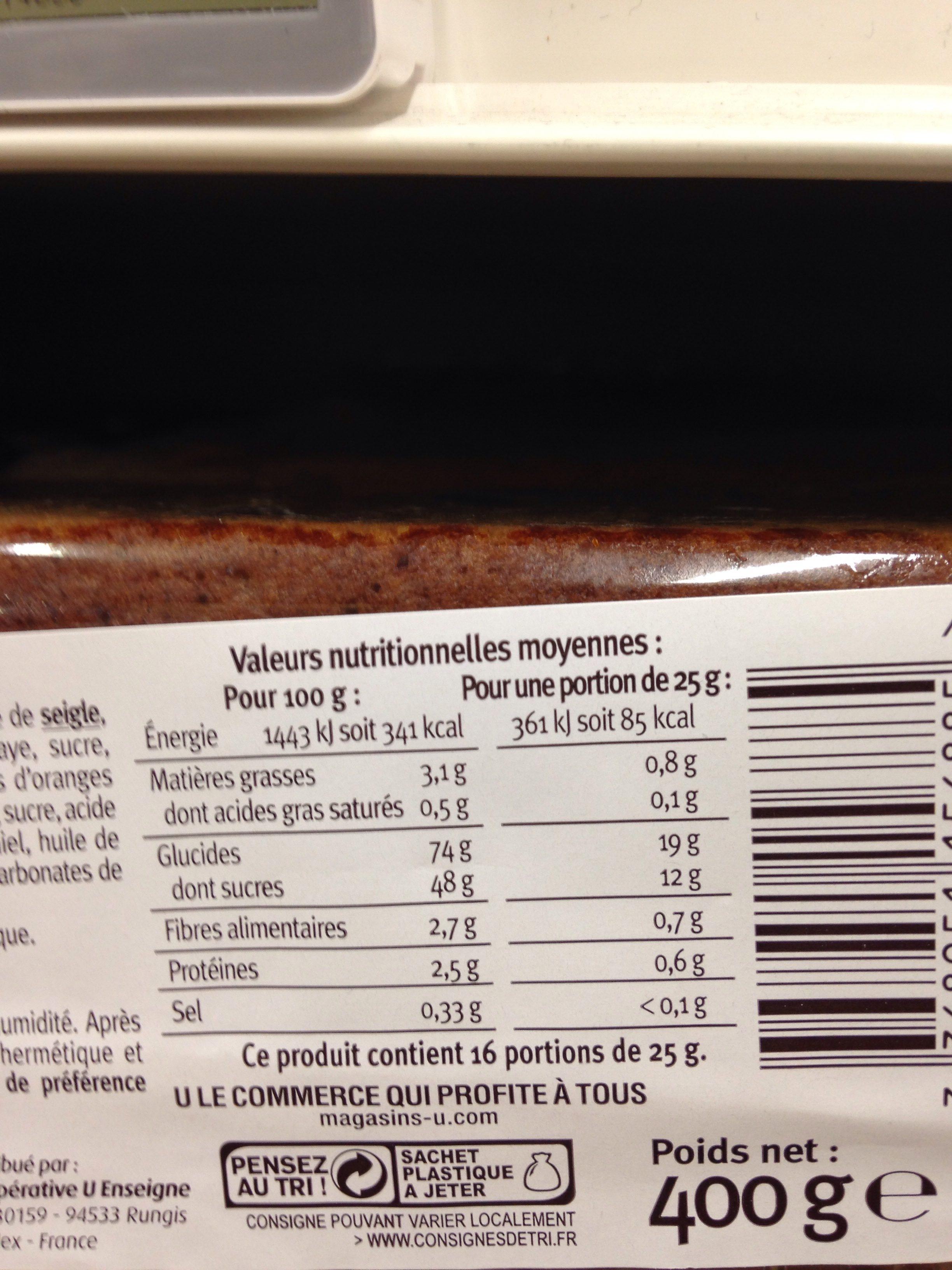 Pain d'épices aux fruits Saveurs - Ingrédients - fr