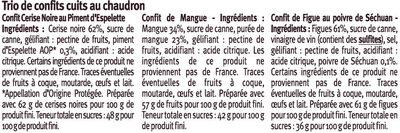 Coffret de confits de Figue de Mangue et de Cerise noire Saveurs - Ingrediënten - fr