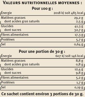 Chips de Légumes - Informations nutritionnelles