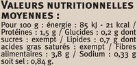 Girolles champignons sauvages Saveurs - Informations nutritionnelles - fr