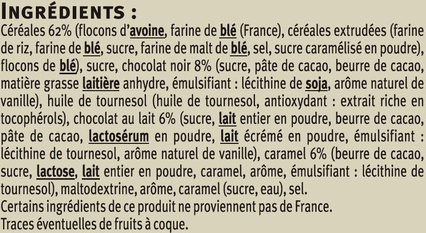 Muesli croustillant chocolat au lait et chocolat noir caramel - Ingredients