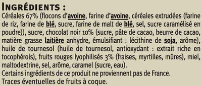 Muesli croustillant chocolat noir fruits rouges - Ingredients