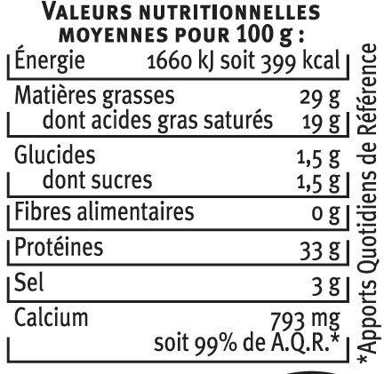 Mimolette vieille au lait pasteurisé 29% de MG - Informations nutritionnelles