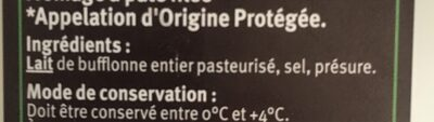 Mozzarella tressée à la main 25%mg - Ingredients