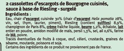 Cassolette d'escargot de Bourgogne sauce au Riesling - Ingrédients