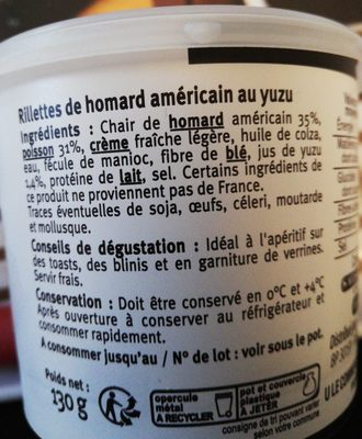 Rillettes de Homard Américain au Yuzu - Ingredients