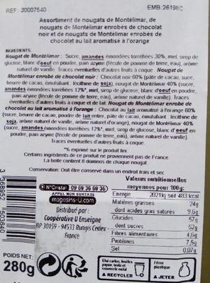 Assortiments de Nougat de Montélimar : nature, enrobés de chocolat noir, chocolat au lait aromatisé à l'orange Saveurs - Ingredienti - fr