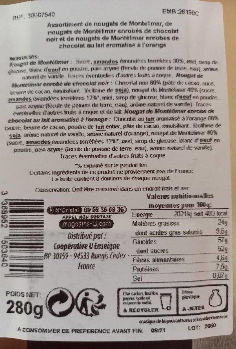 Assortiments de Nougat de Montélimar : nature, enrobés de chocolat noir, chocolat au lait aromatisé à l'orange Saveurs - Valori nutrizionali - fr