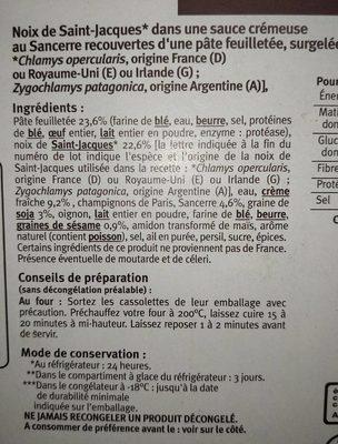 Cassolettes lutées de Saint Jacques sauce crémeuse au Sancerre - Ingredients - fr