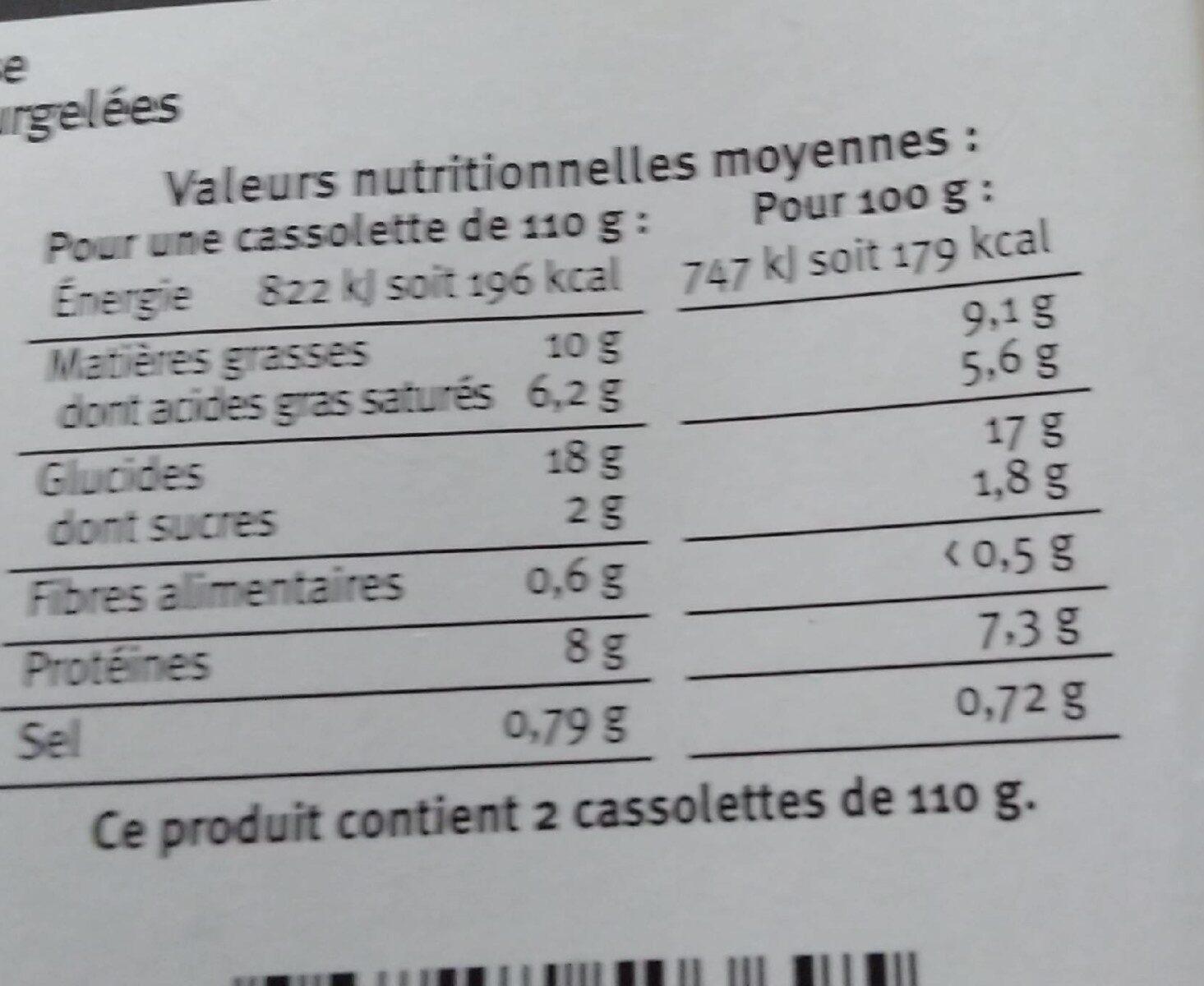 Cassolettes lutées de Saint Jacques sauce crémeuse au Sancerre - Nutrition facts - fr
