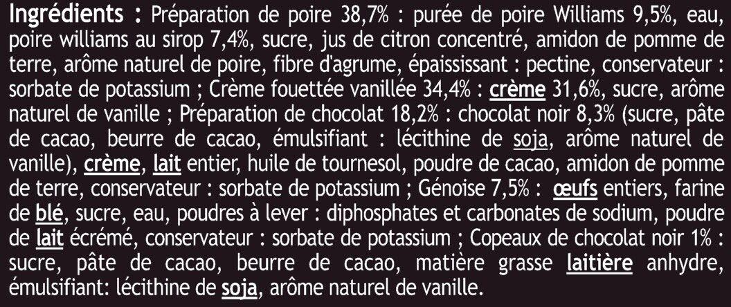 Dessert pâtissier poire façon belle Hélène sur lit de chocolat - Ingrediënten - fr