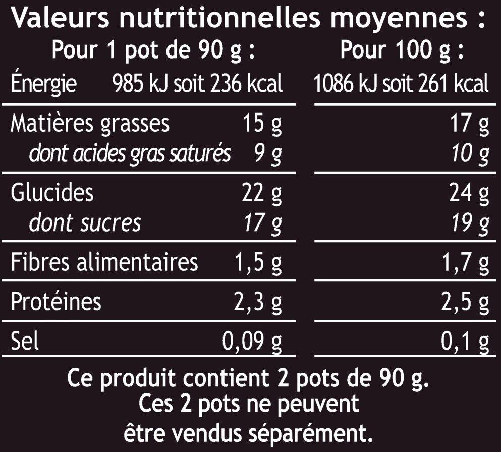 Dessert pâtissier poire façon belle Hélène sur lit de chocolat - Voedingswaarden - fr