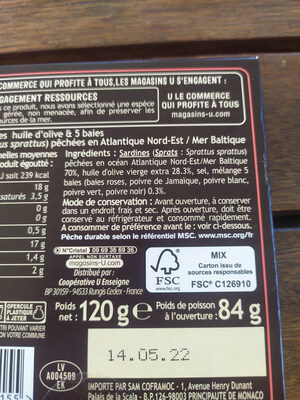 Mini sardines 5 baies huile olive - Ingrédients - fr