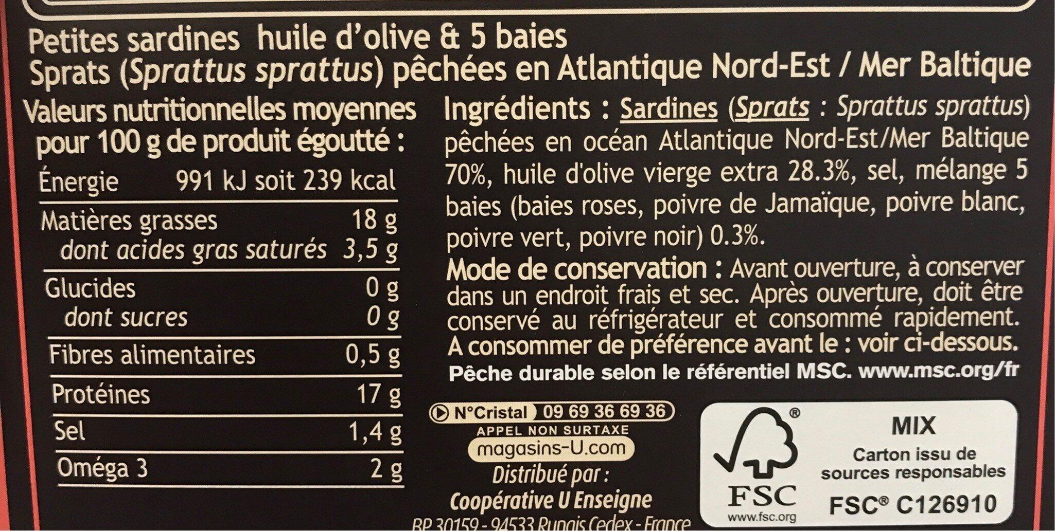 Mini sardines 5 baies huile olive - Informations nutritionnelles - fr