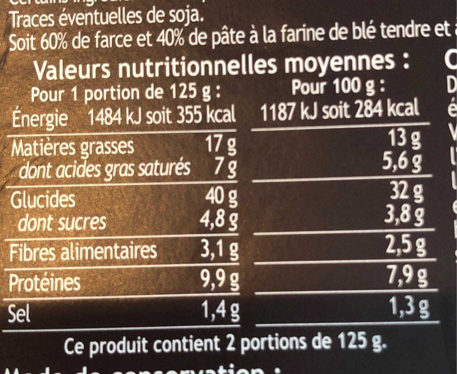 Mezzelune citrouille et crème de fromage - Nutrition facts - fr