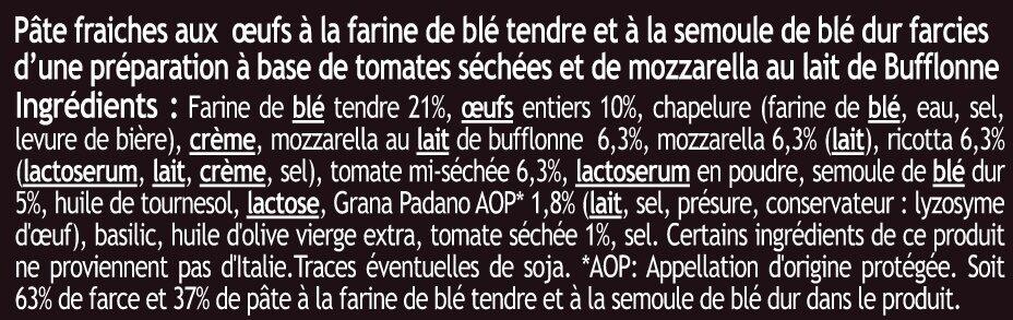 Girasoli aux tomates séchées et mozzarella au lait de bufflonne - Ingredients