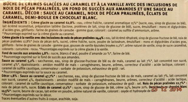Bûche glacée, caramel vanille pécan - Ingredients - fr