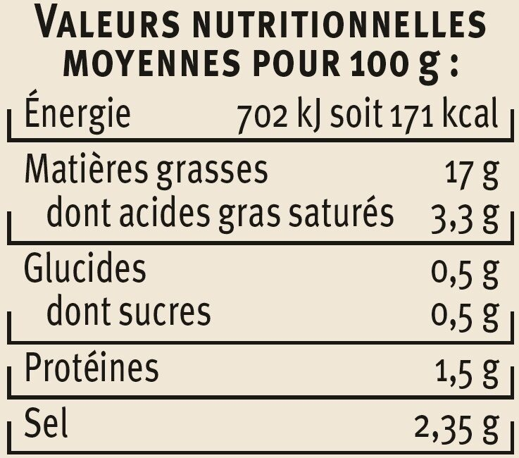 Olives à la Mexicaine - Nutrition facts - fr