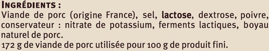 Véritable saucisse sèche Aveyronnaise à la perche - Ingredients