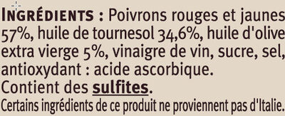 Poivrons grillés rouges et jaunes à l'huile - Ingrédients - fr