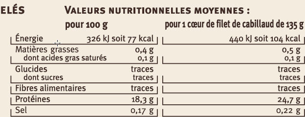 4 Cœurs de filet de cabillaud - Nutrition facts - fr