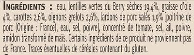 Lentilles vertes Berry cuisinées graisse d'oie - Ingrédients