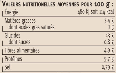 Haricots lingots blancs cuisinés à la graisse d'oie - Nutrition facts - fr