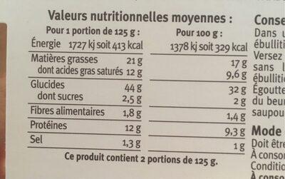 Girasoli au foie gras - Informations nutritionnelles - fr