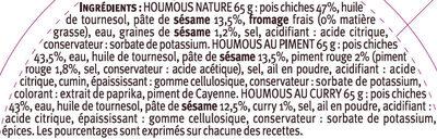 Trio d'houmous nature curry piquant Saveurs - Ingredienti - fr