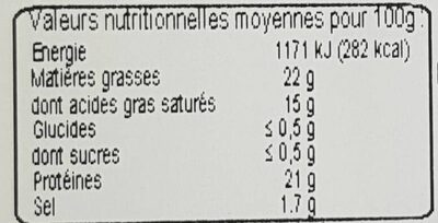 Demi coulommiers au lait cru - Informations nutritionnelles - fr