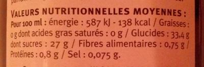 Vinaigre balsamique 6° - Informations nutritionnelles - fr