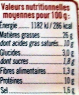 Boudin Blanc Nature - Voedingswaarden - fr