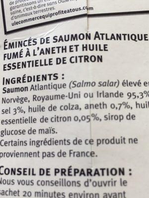 Emincés de saumon atlantique fumé. Aneth et citron - Ingrediënten