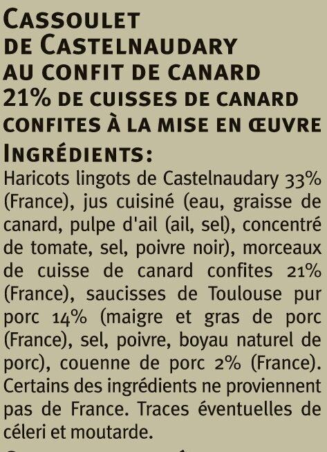 Cassoulet au Confit de Canard - Ingrédients - fr
