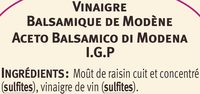 Vinaigre balsamique - Ingredients