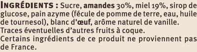 Nougat de Montélimar saveurs - Ingrediënten