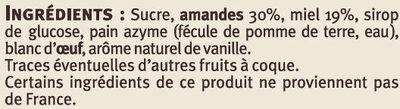 Nougat de Montélimar saveurs - Ingredients