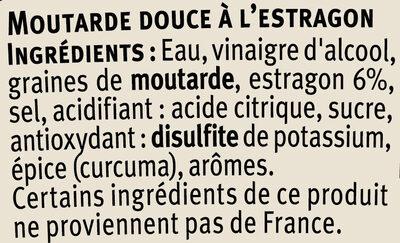 Moutarde à l'estragon - Ingredients