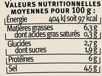 Moutarde à l'estragon - Nutrition facts